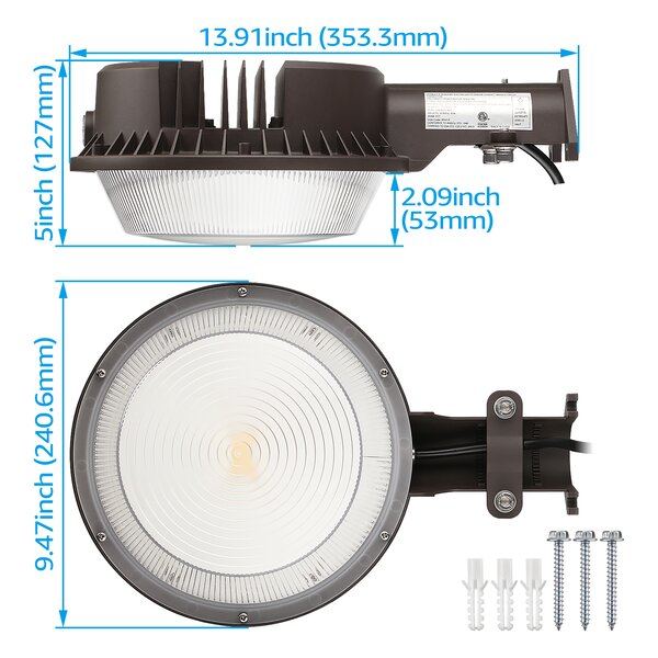 Bronze 3000K Warm White ETL-Listed for Yard 120-277V 250W MH Equivalent Street Dusk to Dawn Barn Lights with Photocell TORCHSTAR LED Area Light 83 Watts 5 Years Warranty 9790lm