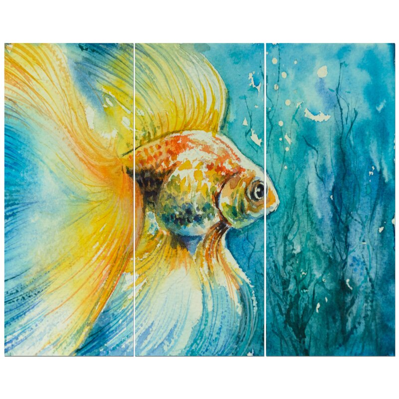 East Urban Home Goldfish In Water Oil Painting Print Multi Piece Image On Wrapped Canvas Wayfair
