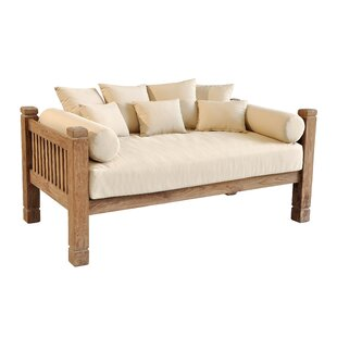 Perine Teak Patio Daybed With Cushions By Loon Peak