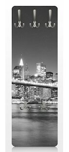 Nighttime Manhattan Bridge II New York Wall Mounted Coat Rack By East Urban Home
