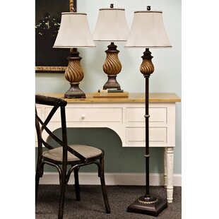 Astoria Grand Southfield 3 Piece Table and Floor Lamp Set