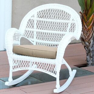 Wicker Rocker Chair with Cushions (Set of 4)