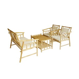 Bamboo 4 Piece Sofa Set with Cushions