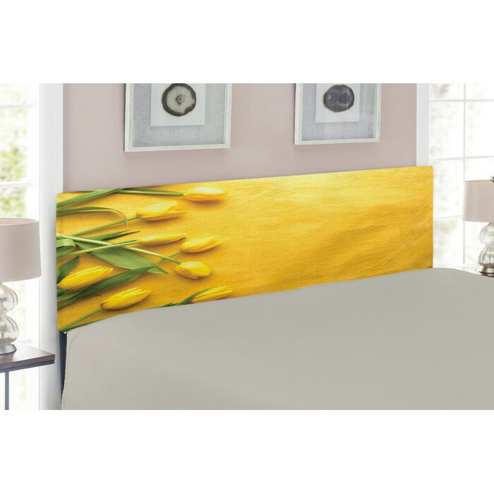 online retailer 8626f 34678 Ambesonne Yellow Headboard for Queen Size Bed, Danish Dutch Tulips on  Coloured Wall Garden Floral Love Lily Herbs Artful Print, Upholstered  Decorative ...