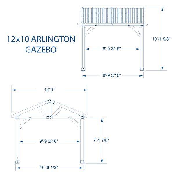 Arlington 12 Ft. W x 10 Ft. D Solid Wood Patio Gazebo