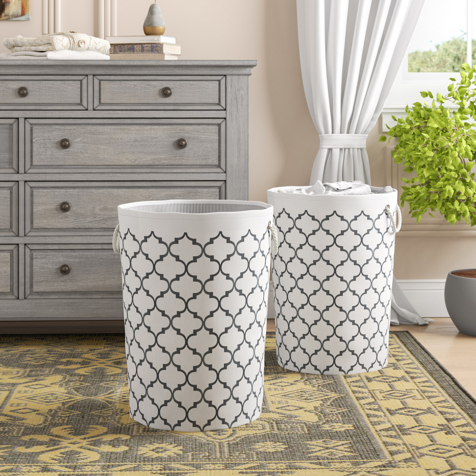 Charlton Home Moroccan Lattice Print Round Collapsible Laundry Hamper &