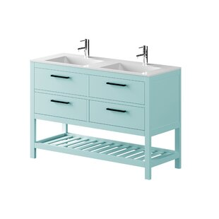 Nakagawa Solid Pine 1200mm Free-standing Double Basin Vanity Unit By 17 Stories