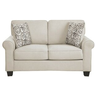 Shop Isidro Polyester Upholstered Wooden Loveseat With 2 Pillows, Gray by Charlton Home