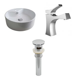 Comparison Ceramic Circular Vessel Bathroom Sink with Faucet and Overflow By Royal Purple Bath Kitchen