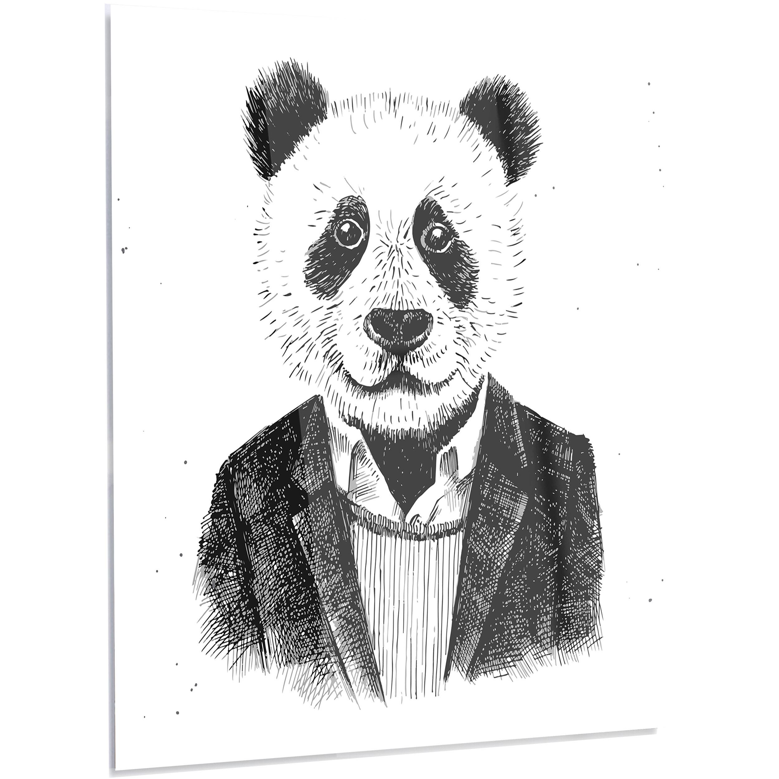Designart Funny Hipster Panda Black White Graphic Art On