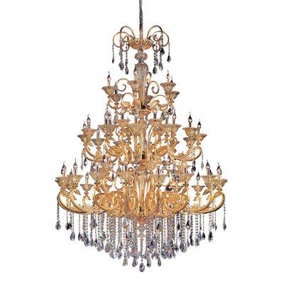 Legrenzi 48 Light Candle Style Chandelier Allegri Crystal Swarovski Elements Clear Finish Two Tone Gold 24K
