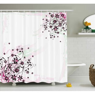 Dunlap Grunge Flower Motif With Swirled Leaves Florets Paintbrush Illustration Single Shower Curtain