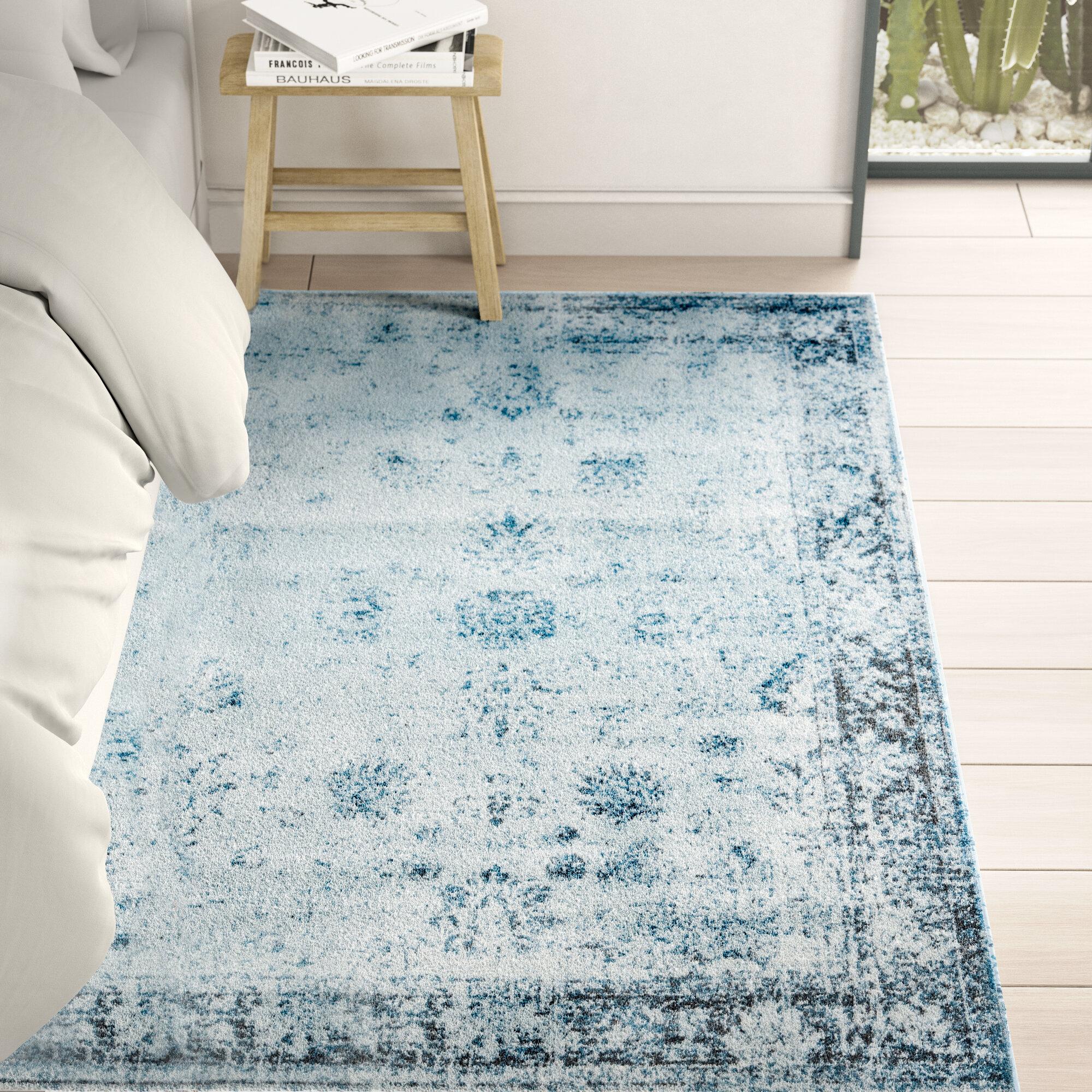 Mistana Brandt Light Blue Gray Ivory Area Rug Reviews Wayfair