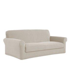 Stretch Grid Box Cushion Loveseat Slipcover By Serta