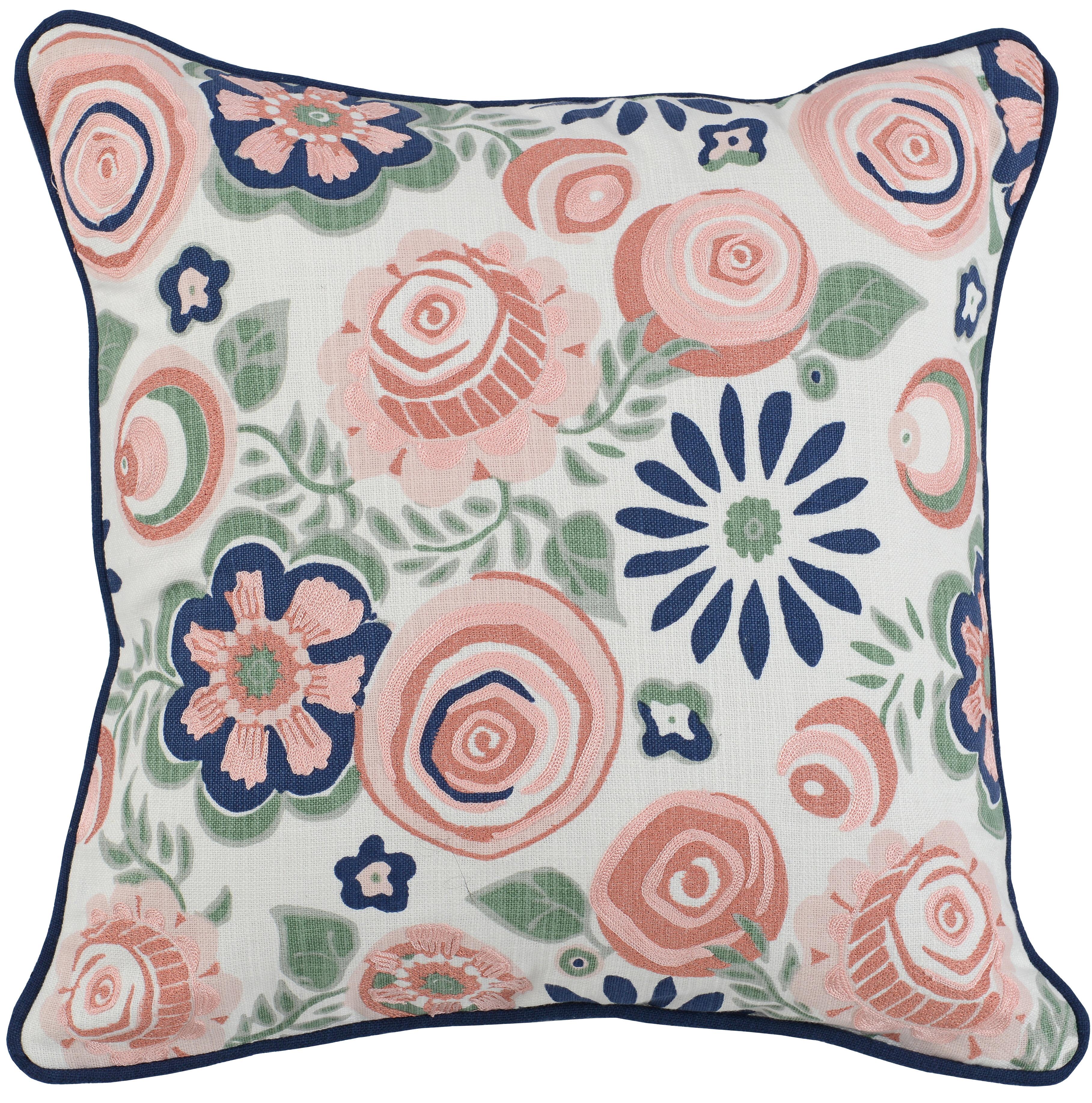 Winston Porter Karyen Clarissa 100 Cotton Floral 18 Throw Pillow Wayfair