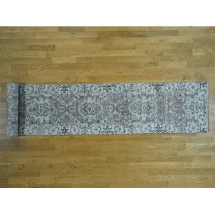 Read Reviews One-of-a-Kind Beare Undyed Hand-Knotted Runner 2'7 x 18'1 Wool Gray/White Area Rug By Isabelline