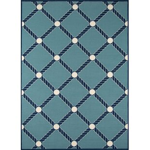 Halliday Blue/White Indoor/Outdoor Area Rug