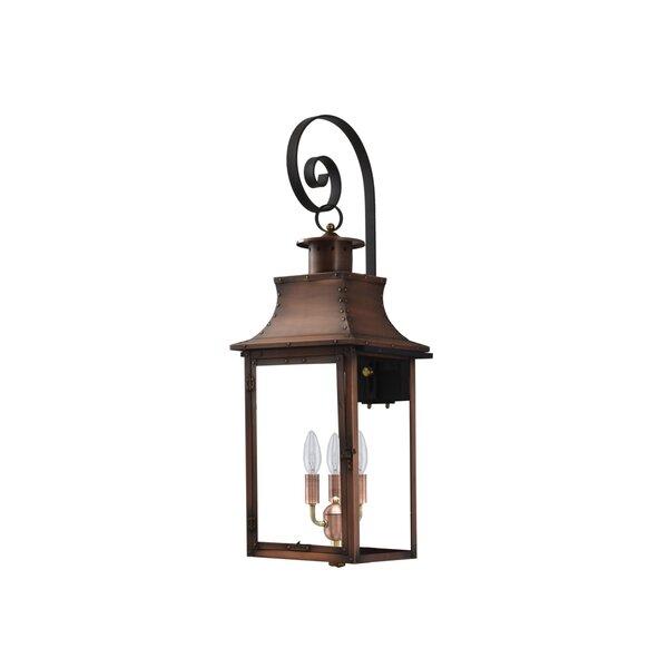 Longshore Tides Gravette Aged Copper 3 Bulb 36 H Outdoor Wall Lantern Wayfair