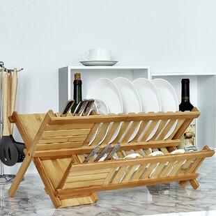 Welland LLC Bamboo 2-Tier Dish Rinse Basket