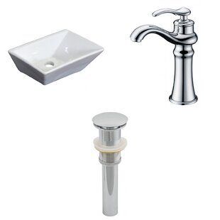 Savings Ceramic Rectangular Vessel Bathroom Sink with Faucet By American Imaginations