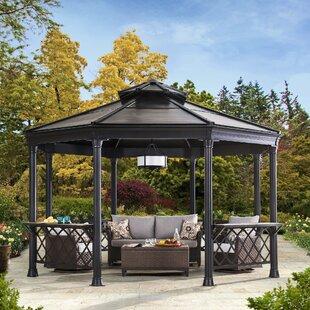 circlet 14 ft w x 13 ft d metal patio gazebo - Metal Roof Gazebo