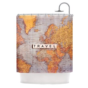 Travel Map Single Shower Curtain