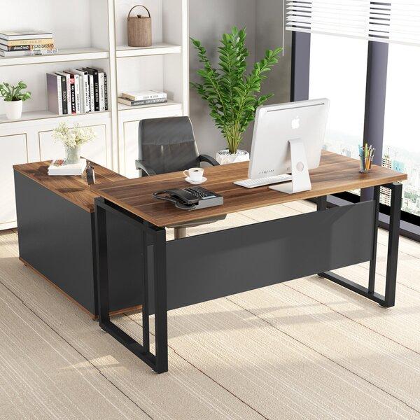 Inbox Zero 2 Piece Configurable L-Shape Rectangular Writing Desk