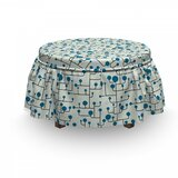 Geometric Abstract Lines Dots 2 Piece Box Cushion Ottoman Slipcover Set by East Urban Home