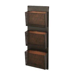 atalanta perforated designed wall mounted 3 pocket magazine rack - Wall Magazine Rack