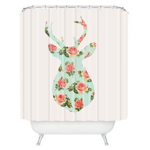 Gadd Floral Deer Silhouette Shower Curtain by Brayden Studio