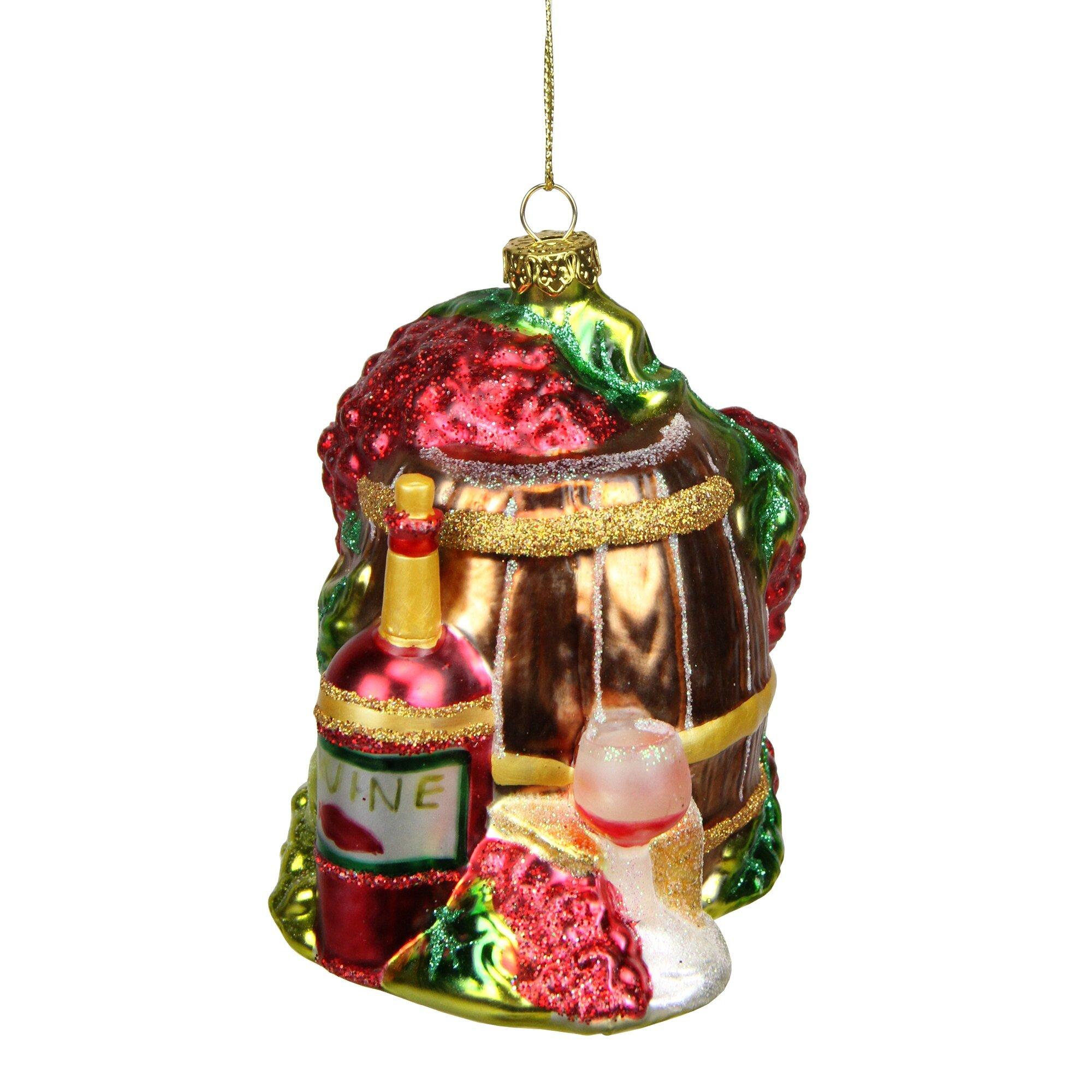Northlight Tuscan Winery Red Wine Barrel Glass Christmas Ornament Wayfair