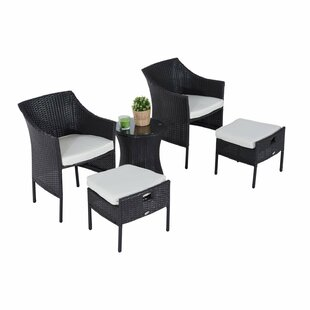 World Menagerie Odell Outdoor 5 Piece Rattan Conversation Set with Cushions