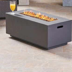Caelan Outdoor Concrete Propane Gas Fire Pit Table