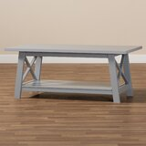 Flagstone Cross Legs Coffee Table with Storage by Winston Porter