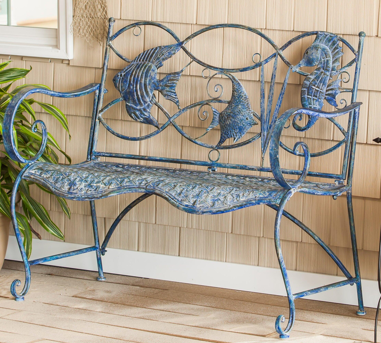 Picture of: Highland Dunes Brynne Blue Fish Metal Garden Bench Reviews Wayfair