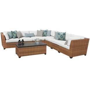 Rosecliff Heights East Village 8 Piece Rattan Sectional Set with Cushions
