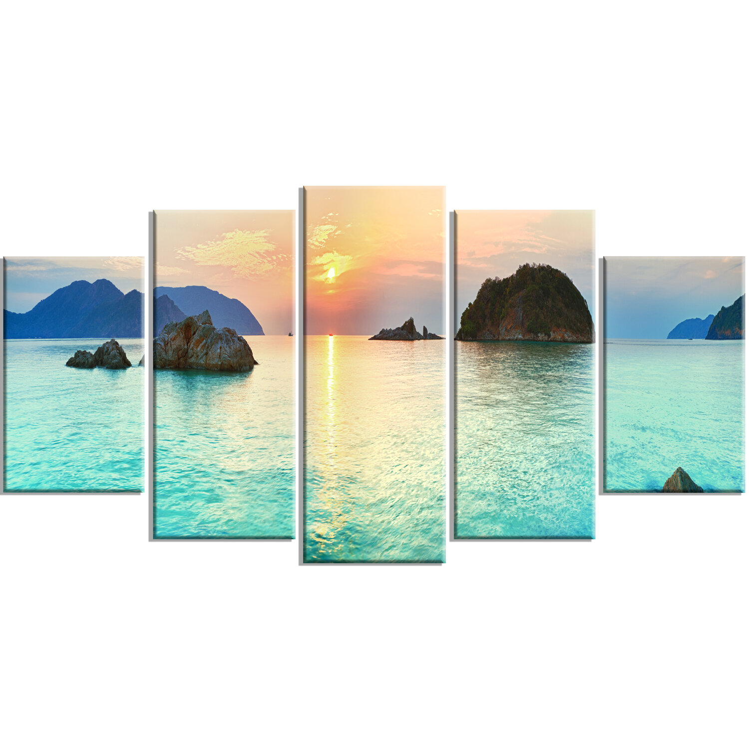 Bay Isle Home Sunrise Panorama 5 Piece Wall Art On Wrapped Canvas Set Wayfair