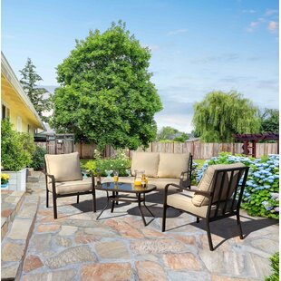 Jarry 4 Piece Outdoor Conversation Set with Cushions