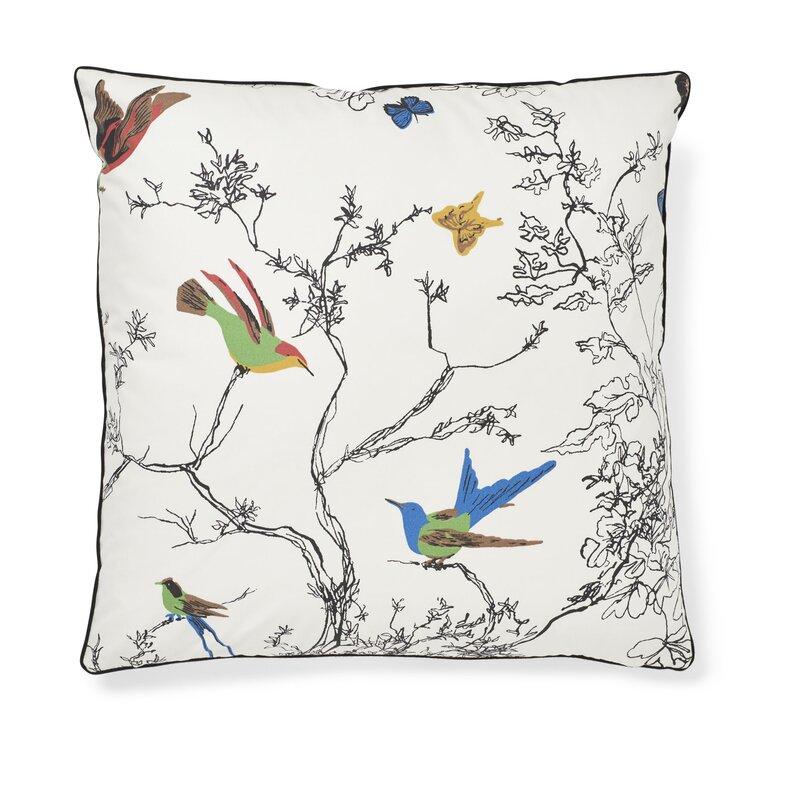 designer pillow cover decorative pillow cover Schumacher birds and butterflies pillow cover