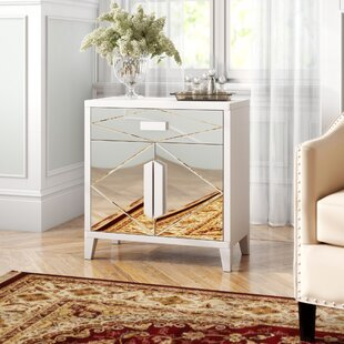 Diamond Mirror Overlay 2 Door Accent Cabinet