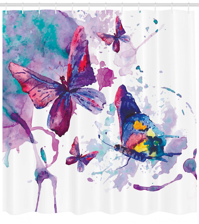 East Urban Home Butterfly Shower Curtain Set Hooks Wayfair