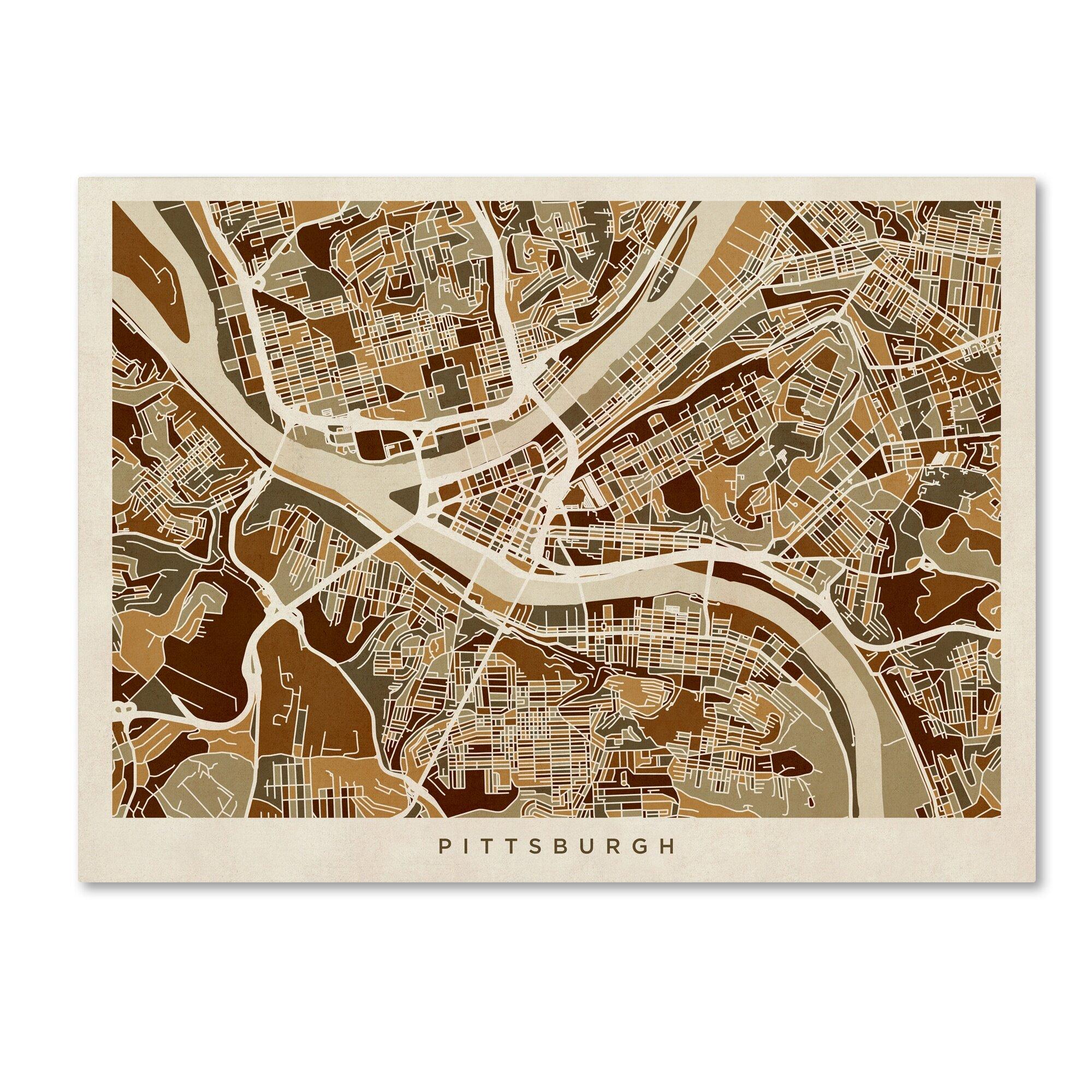Trademark Art Pittsburgh Pennsylvania Street Map Graphic Art On Wrapped Canvas Wayfair