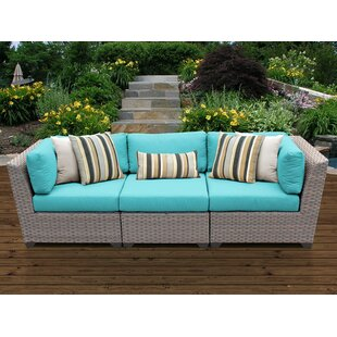 Meeks Patio Sofa With Cushions by Rosecliff Heights Cheap