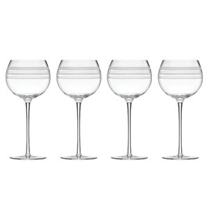 Library Stripe 16 oz. Balloons Wine Glass (Set of 4)