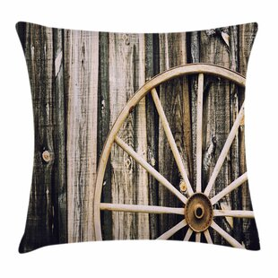 Wheel Wooden Barn Door Square Pillow Cover by East Urban Home