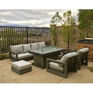 Brayden Studio Porter Weather Teak Sunbrella Sofa Set with Cushions