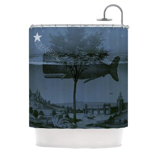Whale Watch by Suzanne Carter Illustration Single Shower Curtain