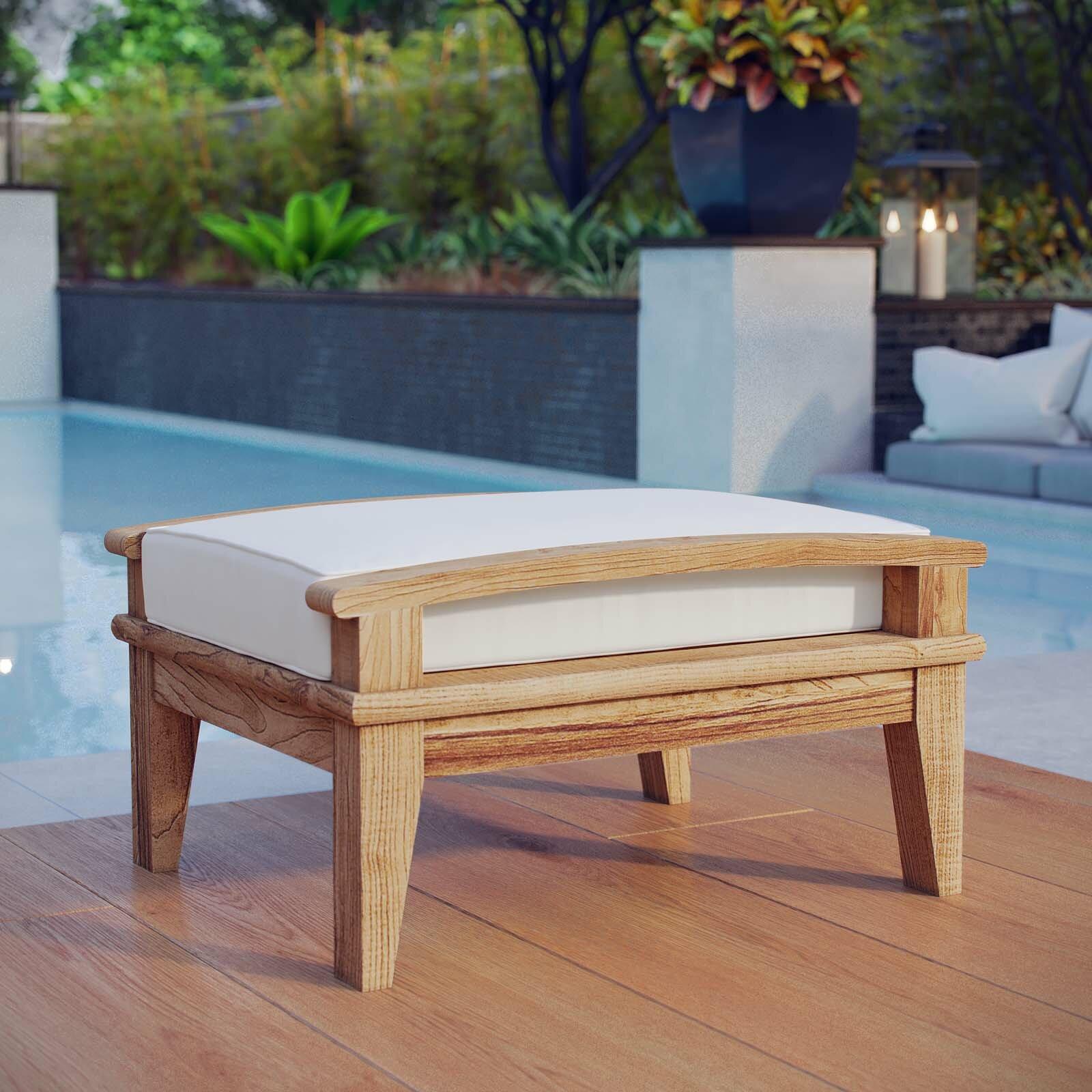 Belle Glade Outdoor Teak Ottoman With Cushion Reviews Joss Main
