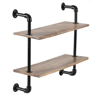 17 Stories Pippa 2 Tier Industrial Pipe Wall Shelf