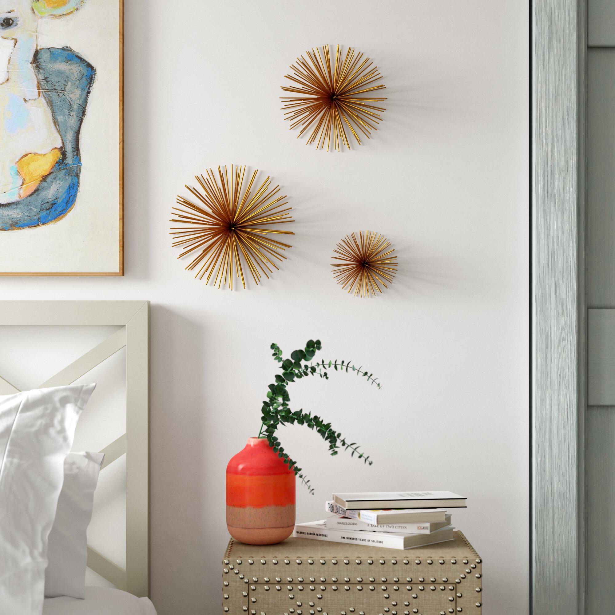 Gold Flamingo 3 Piece Large Starburst Wall Decor Set Reviews Wayfair